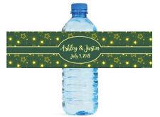 Glowing Stars Green background Wedding Anniversary Birthday Water Bottle Labels