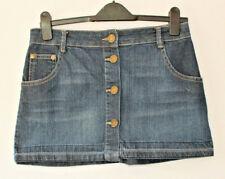 Monsoon Fusion Denim Mini Skirt Button Through Dark Wash Altered 5 Pocket 8-10