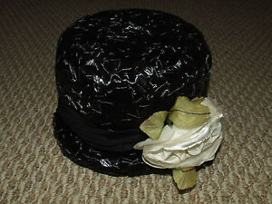Vintage 1950-60's Ladies Woman's Black Basket Style Hat with Flower - Caprice NY