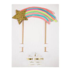 Rainbow & Gold Shooting Star Birthday Party Cake Topper - Meri Meri