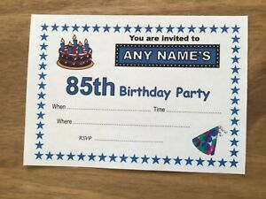 Personalised 85th BIRTHDAY PARTY Invitations - Pack of 20 -Quality Card-A6 size