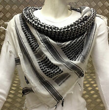 100% Cotton Shemagh / Arab Scarf / Pashmina / Wrap / Sarong Black on White - NEW