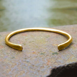 18 K Hallmark Stamped Real Solid Yellow Gold Hammered Tribal Men's Cuff Bracelet