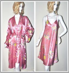 New Ladies Silk blend Satin Bath Robe and Dressing Gown Nightie 2 Piece set Pink