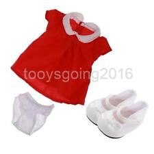 Red One-piece Dress + Bowknot Shoes Clothes Fit for 17'' Zapf Baby Born Doll