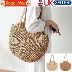 Women Boho Woven Handbag Summer Beach Tote Straw Shoulder Bag Round Rattan UK