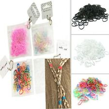 250 Hair Mini Elastic Rubber Bands Bobbles Cornrow Braiding Clear Pouch Assorted