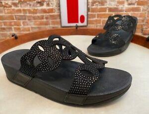 FitFlop Black Elora Crystal Slide Sandal 8 39 New Comfort