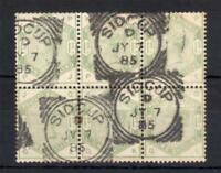 1/- DULL GREEN SG 196 BLOCK OF 6 WITH SIDCUP SQUARED CIRCLE CANCELS