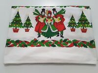 Vintage Christmas Tablecloth Carolers Trees Ornaments 49x51