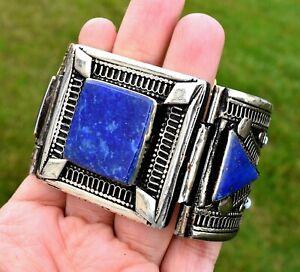 Lapis Lazuli Stone Afghan Kuchi Tribal Cuff Bracelet Blue Taureg Ethnic Bohemian