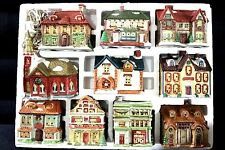 1991 NATIONAL RENNOC CHRISTMAS COLLECTIBLE VILLAGE SCROOGE, CHURCH  & HOUSES