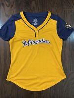 Milwaukee Brewers MLB Baseball Blank Jersey Women's Sz Medium Majestic Cool Base