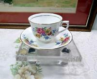 "VALE ENGLAND FLORAL & GOLD 2 1/2"" CUP AND SAUCER SET"