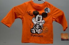Disney Halloween Mickey Mouse Dressed as Skeleton Long Sleeve Shirt Sz 12 months