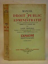 MANUEL DE DROIT PUBLIC ET ADMINISTRATIF - TROTABAS - CAPACITÉ 1er et 2éme année