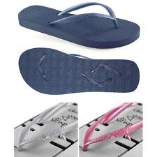 v1 Boomerangz Women's Navy Thongs / Flip Flops + Diamante Grey and Pink Straps