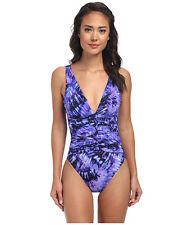 Miraclesuit Fan Dance Allegro One-Piece Swimsuit Eggplant Purple Size 10 NWT