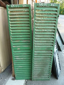 """PaiR victorian FIXED louvered wooden house SHUTTERS green 59.75"""" h x 16"""" w"""