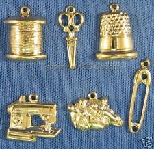 144pc Gold Plated Sewing Tailoring Crafting Charms 5206