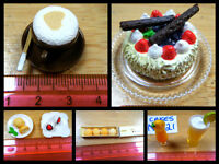 DOLLS HOUSE MINIATURE FOOD CAKE COCKTAIL DRINK CAPUCCINO HOT CHOCO PUFFS 1/12th