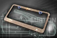 7 Rows Bling Brown Diamond METAL License Plate Frame/Caps/C1