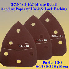 30X Mouse Sanding Sander Sandpaper  Hook & Loop 80 Grit For Black & Decker