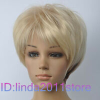New Cosplay Blonde & Dark Brown Mixed short Wig + Free wig cap