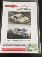 DECALS 1/43 ALPINE RENAULT A110 JACQUEMIN TOUR DE CORSE 1970 RALLYE RALLY WRC
