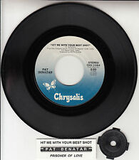 "PAT BENATAR  Hit Me With Your Best Shot 7"" 45 record + juke box title strip RARE"