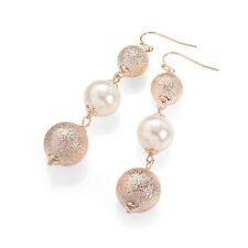 4fc988d40 Ladies Rose Gold Colour White Pearl Effect Drop Earring Fashion Jewellery