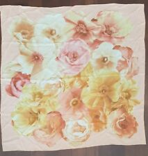Salvatore Ferragamo Sheer Silk Scarf Square Large Floral Pattern Peach Pink