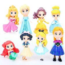 1 Set of 8 Disney Princess SnowWhite Mermaid Alice Figures Figurine Ornament Toy