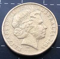 2005 AUSTRALIAN $1 DOLLAR COIN - WEAK DIE FILL ERROR STRIKE PARTIAL MISSING DATE