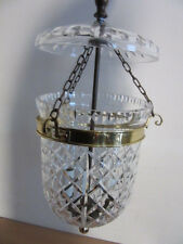 WATERFORD Brass crystal colonial hanging bell jar chandelier foyer light fixture