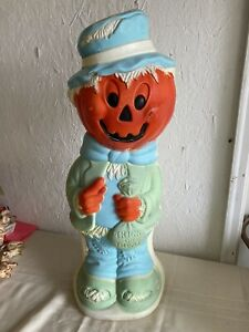 Vintage Scarecrow with Pumpkin Head & Trick or Treat Bag Halloween Blow Mold
