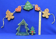 Wood Gingerbread Man Swag Christmas Tree Candy Dish  Wooden Puzzle Tree Lot of 3