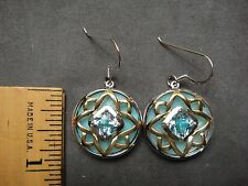 NEW BIG STERLING  CUSHION 7 MM BLUE TOPAZ+BLUE MOP EARINGS RHODIUM +14KT FINISH