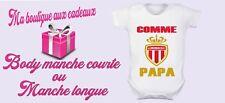 body bébé personnalisé AS Monaco foot , manche courte ou longue