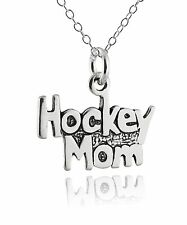 Hockey Mom Charm Necklace - 925 Sterling Silver - Sports Mother Jewelry NEW