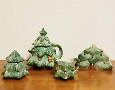 Rare Vintage San Marco Nove Hand Painted Italian Pottery Christmas Teapot Set
