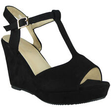 Womens Ladies Platform Peeptoe Party Wedding Platform Shoes Wedge Sandals Sizes