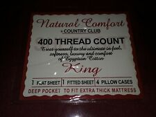 Natural Comfort Country Club 400 Th Ct. Deep King Sheet Set 4 Pillow Fitted Flat