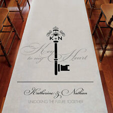 Key to My Heart Monogram Personalized Wedding Ceremony Aisle Runner Q26919
