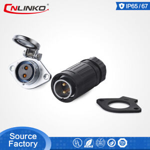 Cnlinko M20 2Pin Waterproof IP67 Connector 20A Cable Plug Panel Mount Socket LED