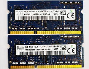 8GB 2x4GB SK Hynix HMT451S6BFR8A-PB PC3L-12800S DDR3L-1600 RAM 1.35v memory