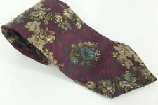 Christian Dior Neck Tie Red Vintage Gray & Blue Graphic Floral 100% Silk Classic