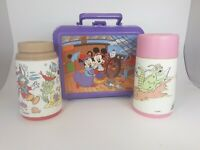 Aladdin Vintage Purple Mickey Mouse & Minnie Mouse Lunch Box &  2 Thermos 1 Lid