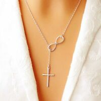 Fashion Necklace Infinity Cross Long Silver Chain Pendant For Women Jewelry Gift