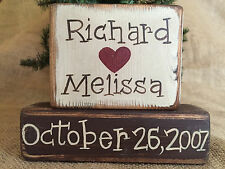 Primitive Personalized Names and Date Heart 2 pc Shelf Sitter Wood Block Set